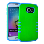 Rocker Series Slim Protector Case for Samsung Galaxy S6 (Honey Light Green Snap with Light Blue Skin)