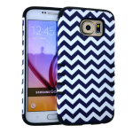 Rocker Series Slim Protector Case for Samsung Galaxy S6 (Black/White Waves Snap and Black Skin)