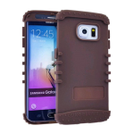 Rocker Series Silicone Skin Protector Case for Samsung Galaxy S6 Edge (Brown)