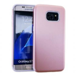 MYVI Series Slim Hybrid Protector Case for Samsung Galaxy S7 Edge (Grey Skin andMetallic Rose Gold Snap)