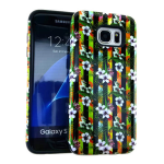 MYVI Series Slim Hybrid Protector Case for Samsung Galaxy S7 Edge (Black Skin and Flower Snap)