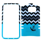 Rocker Series Snap-On Protector Case for Samsung Galaxy S7 Edge (Black Anchor and Black/White Chevron on Blue)