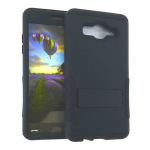Hopper Protector Case for Samsung Galaxy On5 (Rubberized Black Snap and Black Skin with Stand)