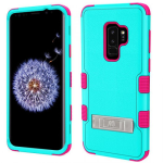 SAMSUNG GALAXY S9 PLUS MYBAT TUFF HYBRID PROTECTOR W/ METAL STAND-NATURAL TEAL GREEN/ELECTRIC PINK