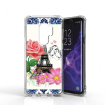 SAMSUNG GALAXY S9 PLUS TRANSPARENT TOUGH TPU CASE W/ DESIGN #4-EIFFEL TOWEL AND FLOWERS