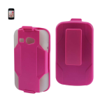 Reiko - Silicone Case Plus Protector Cover for Kyocera Hydro C5170 - Hot Pink/Clear