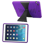 Reiko - Silicone Case Plus Protector Cover for Apple iPad Air - Purple/Black