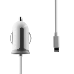 ZipKord 2.4A 3-Foot Lightning Car Charger for Apple Devices - White/iPhone X 8 7