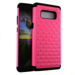 HYB F 2 in 1 Case. Rhinestone on Pink Snap & Black Skin