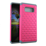 HYB F 2 in 1 Case. Rhinestone on Dark Hot Pink & Grey