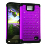HYB E 2 in 1 Case, Rhinestone on Dark Purple.