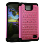 HYB E 2 in 1 Case, Rhinestone on Pink & Black