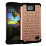 HYB E 2 in 1 Case, Rhinestone on Rose Gold&Black Skin