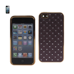 Reiko - Diamond Leather Protector Cover for Apple iPhone 5 - Soft Quilt Dark Purple