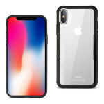 Reiko iPhone X Hard Glass TPU Case With Tempered Glass Screen Protector In Clear Black