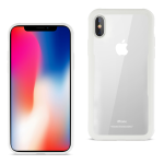 Reiko iPhone X Hard Glass TPU Case With Tempered Glass Screen Protector In Clear White