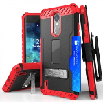 LG K8 2017 BEYOND CELL TRI SHIELD KOMBO CASE - BLACK/RED