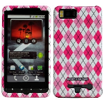 MOTOROLA DROID X2 FLEX BODY GLOVE CASE - PINK ARGYLE