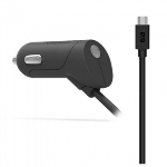 PUREGEAR 12W/2.4A MICRO USB 6FT CORDED CAR CHARGER - BLACK