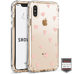 Cellairis Aero Case for Apple iPhone X/XS - Showcase Clear Heart Polka Rose Gold