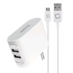 Cellet Dual Port Micro USB Travel Charger Adapter with Folding Charger Blades for LG Tribute 5 (White) - TCMICRONBA-Z