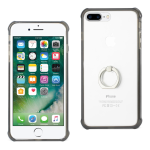 Reiko iPhone 8 Plus/ 7 Plus Air Cushion Protector Bumper Case With Ring Holder In Clear Black