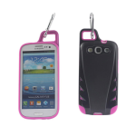 Reiko - TPU/PC Protector Cover with Hook SAMSUNG GALAXY S III I9300 - Black/Hot Pink