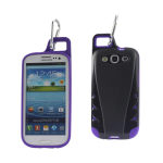 Reiko - TPU/PC Protector Cover with Hook for SAMSUNG GALAXY S III I9300 - Black/Purple