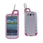 Reiko - TPU/PC Protector Cover with Hook for SAMSUNG GALAXY S III I9300 - White/Hot Pink