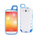 Reiko - TPU/PC Protector Cover wi9th Hook for SAMSUNG GALAXY S III I9300 - White/Navy