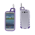 Reiko - TPU/PC Protector Cover with Hook for SAMSUNG GALAXY S III I9300 - White/Purple
