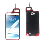 Reiko - TPU/PC Protector Cover WITH HOOK for Samsung GALAXY Note II N7100 - Black/Red
