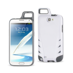 Reiko - TPU/PC Protector Cover WITH HOOK Samsung GALAXY Note II N7100 - White/Gray