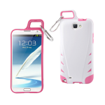 Reiko - TPU/PC Protector Cover WITH HOOK Samsung GALAXY Note II N7100 - White/Hot Pink
