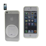 Reiko - TPU/PC Protector Cover with 360 Degree Rotating Kickstand for Apple iPhone 5 - White