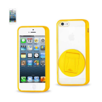 Reiko - TPU/PC PRotector Cover with 360 Rotating Kickstand for Apple iPhone 5 - Yellow