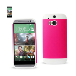 Reiko - TPU/PC Protector Cover for HTC ONE M8 - White/Hot Pink