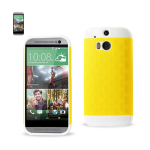 Reiko - TPU/PC Protector Cover for HTC ONE M8 - White/Yellow