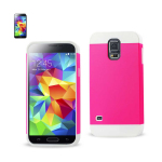 Reiko - TPU/PC Protector Cover for Samsung Galaxy S5 - White/Hot Pink
