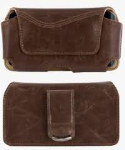 Verizon Universal Cell Phone Pouch with Magnetic Closure & Swivel Belt Clip for Apple iPhone 5/5S/5C (Brown)