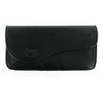 Technocel - Universal Medium Horizontal Leather Pouch with Magnetic Closure - Black