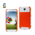 Reiko - Aluminum and Silicone Case for Samsung Galaxy S4 - White/Orange