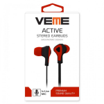 VEME ACTIVE SERIES STEREO TANGLE-FREE EARBUDS-RED