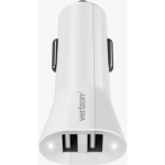 Verizon Car Charger with Dual Ports for Apple and Android Devices (White)