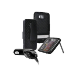 OEM Verizon HTC Thunderbolt ADR6400 Shell Holster Combo, Car Charger and Screen Protector Package (Bulk Packaging)