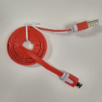 Xfactor-Micro USB Sync and Charge Cable, Flat Silicone Cable - Red