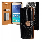 Samsung Galaxy J7 J700 2015- Horizontal Diamond Flap Pouch w/ Credit Card Pockets - Black