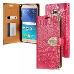 Samsung Galaxy J7 J700 2015- Horizontal Diamond Flap Pouch w/ Credit Card Pockets - Pink