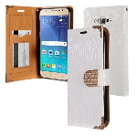 Samsung Galaxy J7 J700 2015- Horizontal Diamond Flap Pouch w/ Credit Card Pockets - White