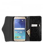 Samsung Galaxy J7 J700 2015 - Horizontal Flap Pouch w/ Credit Card Pockets w/ Zipper Pocket Black